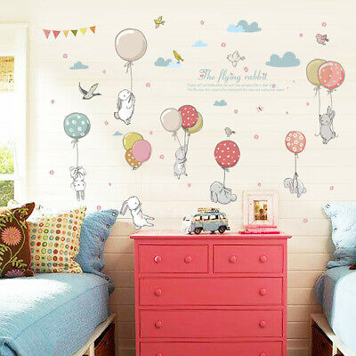 Balloon rabbit Wall Stickers Nursery Kids Bedroom Removable Mural Decal Decor AU