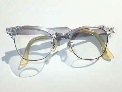 736e9e9233 RISO Browline Cat Eye Eyeglasses Non-Rx Bifocal Lens GF Bridge 20  Rhinestones