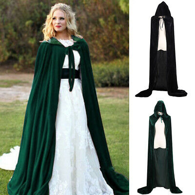 Unisex Hooded Party Fancy Dress Role Play Velvet Long Cape Halloween Cloak