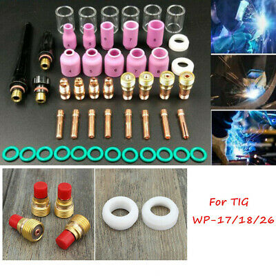 AU 49Pcs Gas Lens Cup Kits for WP17 WP18 WP26 TIG Welding Torch Accessories Kit