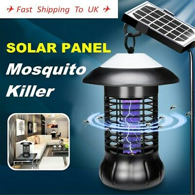 Solar Panel Outdoor Mosquito Killer Lamp Insect Lawn Bug Zapper Trap Pest Light