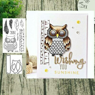 Owl metal cutting dies and clear stamps for scrapbooking DIY craft decoration
