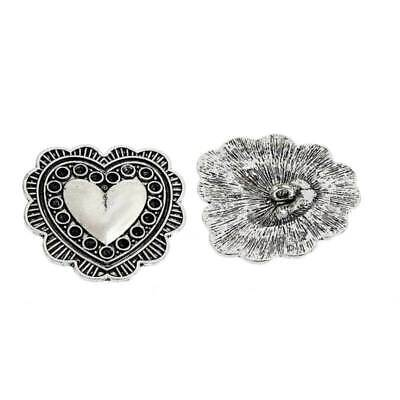 Heart Shape Carved Antique Sewing Craft DIY Silver Shank Buttons Rhinestone New