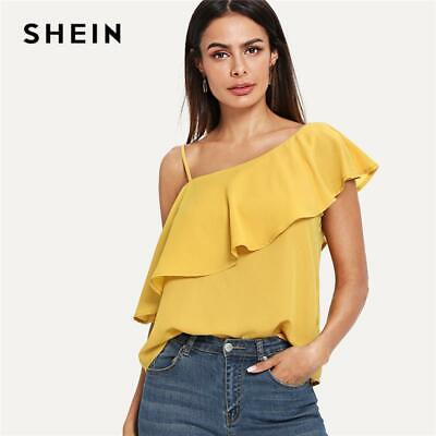 1c2d1c00ec6c SHEIN Yellow Party Elegant Sexy Asymmetrical Neck Flounce Trim One Shoulder  Soli
