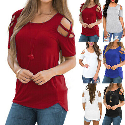 Womens Cold Shoulder T-Shirt Summer Holiday Ladies Casual Tops Blouse Size 6-18