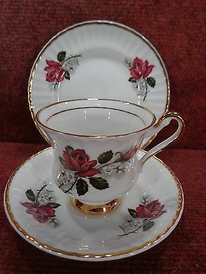 * LUBERN CHINA Red Roses with White Flora & 22 kt Gold Trim TEA TRIO