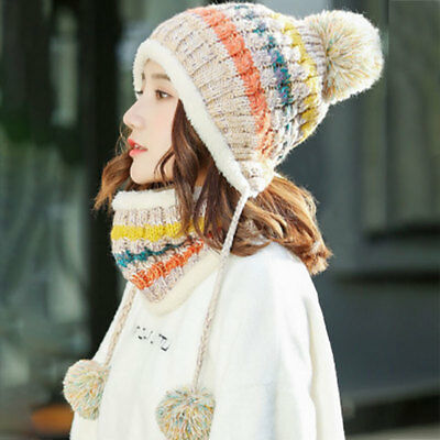 2pcs Winter Women Girls Knitted Scarf and Hat Set Warm Knitting Thicken Outdoor