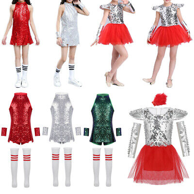 Kids Girls Shiny Sequins Dance Dress Jazz Hip Hop Costume Stage Dancewear Outfit