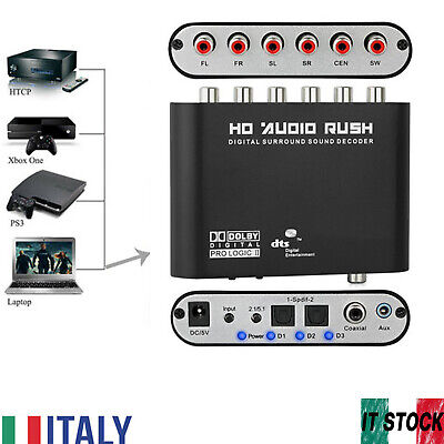 5.1CH Adattatore decodificator audio da digitale ad analogico SPDIF RCA DTS/AC-3