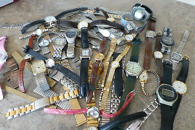 Huge Lot Of Mixed Ladies And Gents Watches and Many straps
