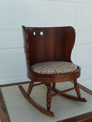"Vintage Child's Wood Barrel Rocking Chair By The "" LANE "" Company"