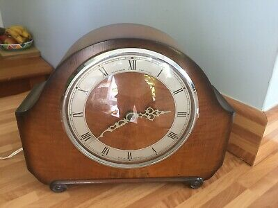 30/40's Vintage Alexander Clark Co Ltd Wooden Electric Smiths Motor Mantel Clock