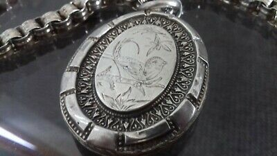 Victorian silver Aesthetic locket and Solid Silver Victorian Chain.