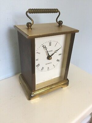 Fully Working Metamec Brass Mantle Carriage Clock Electric Battery Quartz Motor