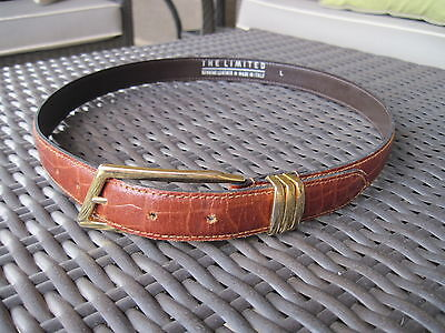 The Limited Brown Leather Moc Croc Belt Gold Buckle Hardware ITALY Size Large