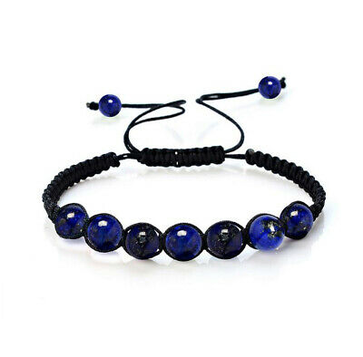 7 Chakra Healing Balance Beaded Braid Bracelet Gemstone Yoga Reiki Prayer blue