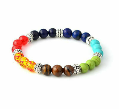 7 Chakra Healing Balance Beaded Bracelet Natural Stone Yoga Reiki Prayer D1