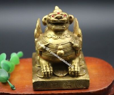9 CM Chinese Pure Brass Copper Fengshui Animal Foo Dog Lion Pi Xiu kylin Statue