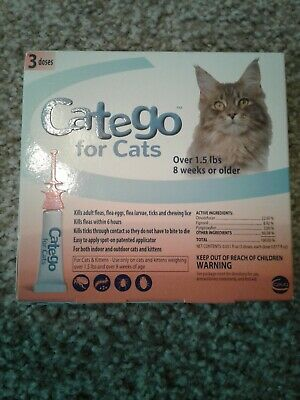 NEW Ceva CATEGO Flea Treatment for Cats Over 1.5 Lbs 3 Doses Free Shipping