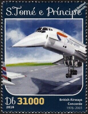 BA British Airways CONCORDE Arliner Aircraft Stamp #2 (2016 St Thomas & Prince)