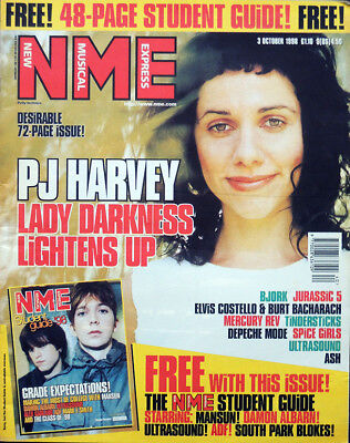 Nme 3 Oct 1998 . Pj Harvey Front Cover . Bjork . Cypress Hill . Placebo