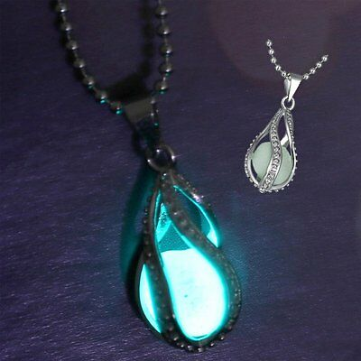 Steampunk Luminous Teardrop Glow in The Dark Heart Charm Pendant chain Necklace