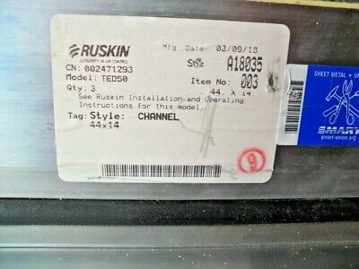 """RUSKIN TED50 Alum. rectangular, thermally efficient, airfoil blade, 44"""" x 14"""""""