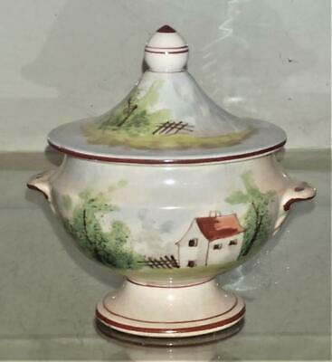 Sweet French Antique Faience Marseilles Style Hand Painted Mustard Pot