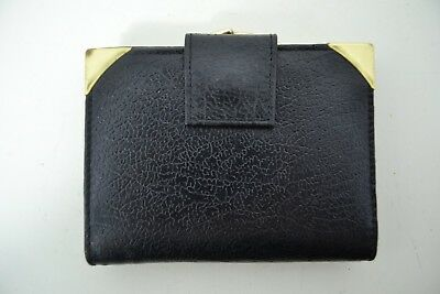 VINTAGE 1970s WOMENS BLACK LEATHER PURSE WALLET ENGLISH MADE
