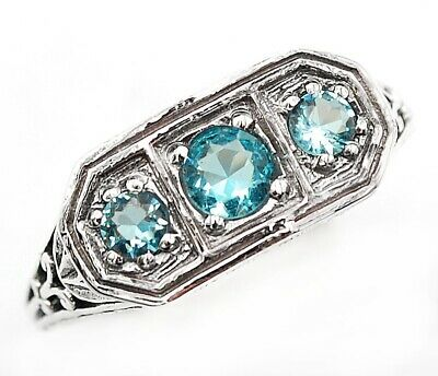 Aquamarine 925 Solid Sterling Silver Art Deco Ring Jewelry Sz 7