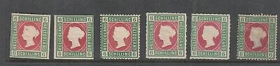Heligoland 1867 6 Schilling Green-Rose Mint, You Are Buying One Value Only