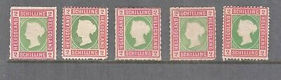 Heligoland 1867 2 Schilling Rose-Green Mint, You Are Buying One Value Only