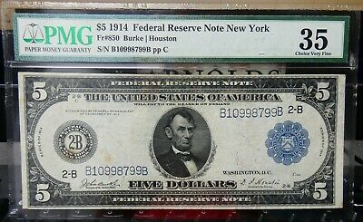 1914 $5 Federal Reserve Note New York Fr 850 PMG 35 - bcp