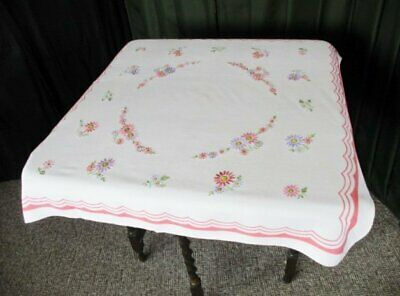 ViNTAGE TABLECLOTH - HAND EMBROIDERED FLOWERS