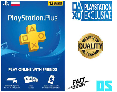 PlayStation Plus 1 Year 12 Month 365 Day PSN Membership Code PS3 PS4 Poland