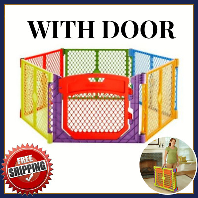 Large Portable Play Yard For Baby Girl Boy With Gate Door Indoor Outdoor Toddler