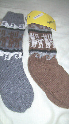 BNWT Two Pairs Child's Unisex Knitted Socks Alpaca from Peru Brown Grey Bargain