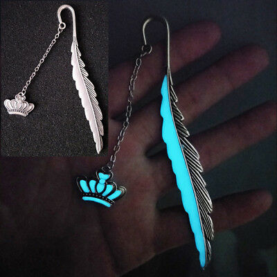 1XLuminous Night crown Bookmark Label Read Maker Feathers Book Stationery Silver