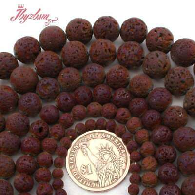 """Round Purple Plated Lava Rock Volcanic Stone Loose Beads For Jewelry Making 15"""""""