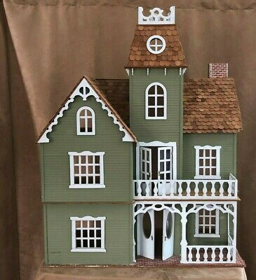 "Vintage Handmade Dollhouse 39"" Victorian style mansion wood doll house green"