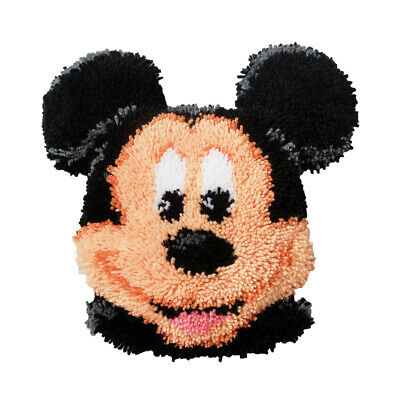 VERVACO|Latch Hook Kit: Shaped Cushion: Mickey Mouse|PN-0014640