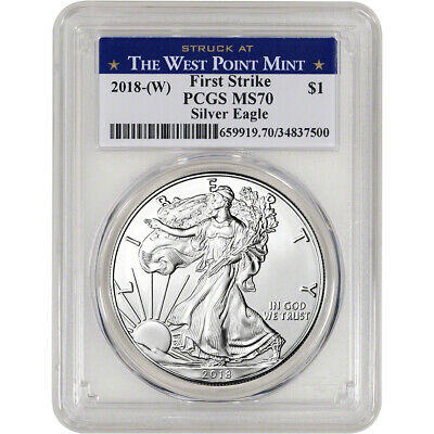 2018-(W) American Silver Eagle - PCGS MS70 - First Strike - West Point Label