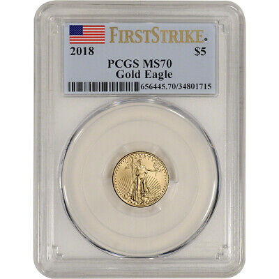 2018 American Gold Eagle (1/10 oz) $5 - PCGS MS70 - First Strike