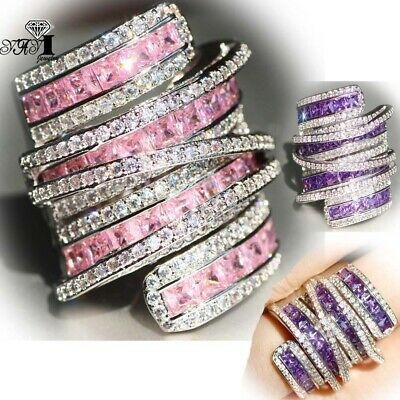 925 Silver Multi-color AAAAA Sapphire Birthstone Engagement Wedding Brand Ring