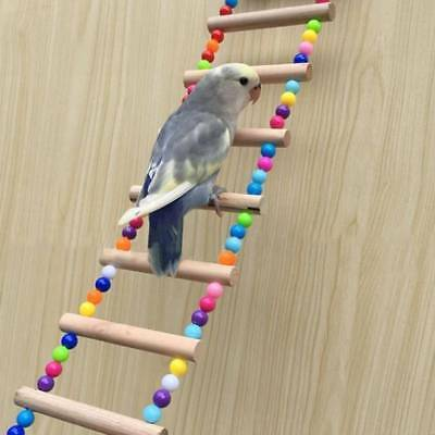 Bird Pet Ladder Swing Wooden Hanging Parrot Toys Parakeet Bridge Climb Bite Toy