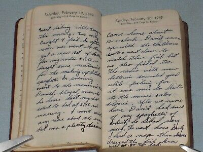 1949 Hand Written Daily Diary Full Of Long Entries