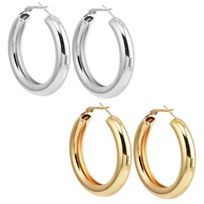 6ccf98dbf Punk Rock Minimalist 50mm Thick Tube Big Gold Alloy Round Circle Hoop  Earrings