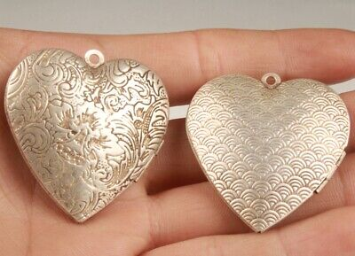 2 Chinese Tibetan Silver Handmade Carving Flower Heart-Shaped Box Pendant Lucky