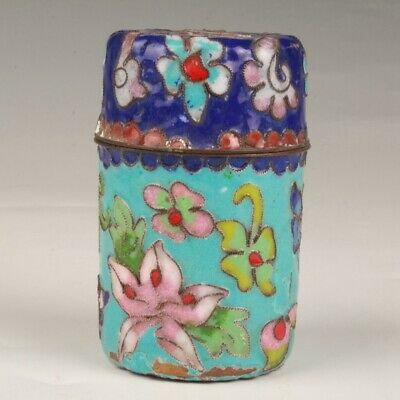 Chinese Cloisonne Handmade Carving Flower Box Decorative Gift Collection