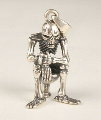 China 925 Silver Hand Carving Skeleton Figurines Statue Pendant Cool Collection